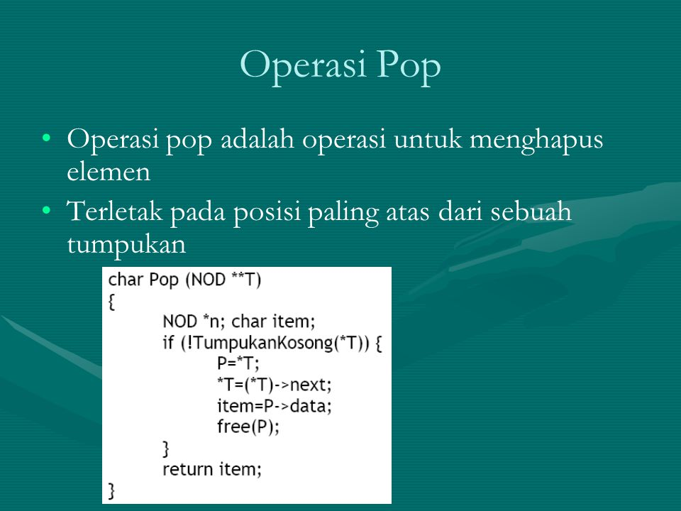 Notasi Infix Prefix Contoh : Proses konversi dari infix ke prefix : = ( A + B ) * ( C – D ) = [ + A B ] * [ - C D ] = * [ + A B ] [ - C D ] = * + A B - C D