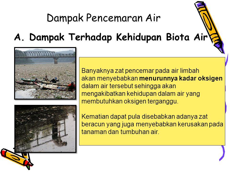 Dampak Pencemaran Air A.Dampak Terhadap Kehidupan Biota Air Banyaknya zat pencemar pada air limbah akan menyebabkan menurunnya kadar oksigen dalam air tersebut sehingga akan mengakibatkan kehidupan dalam air yang membutuhkan oksigen terganggu.