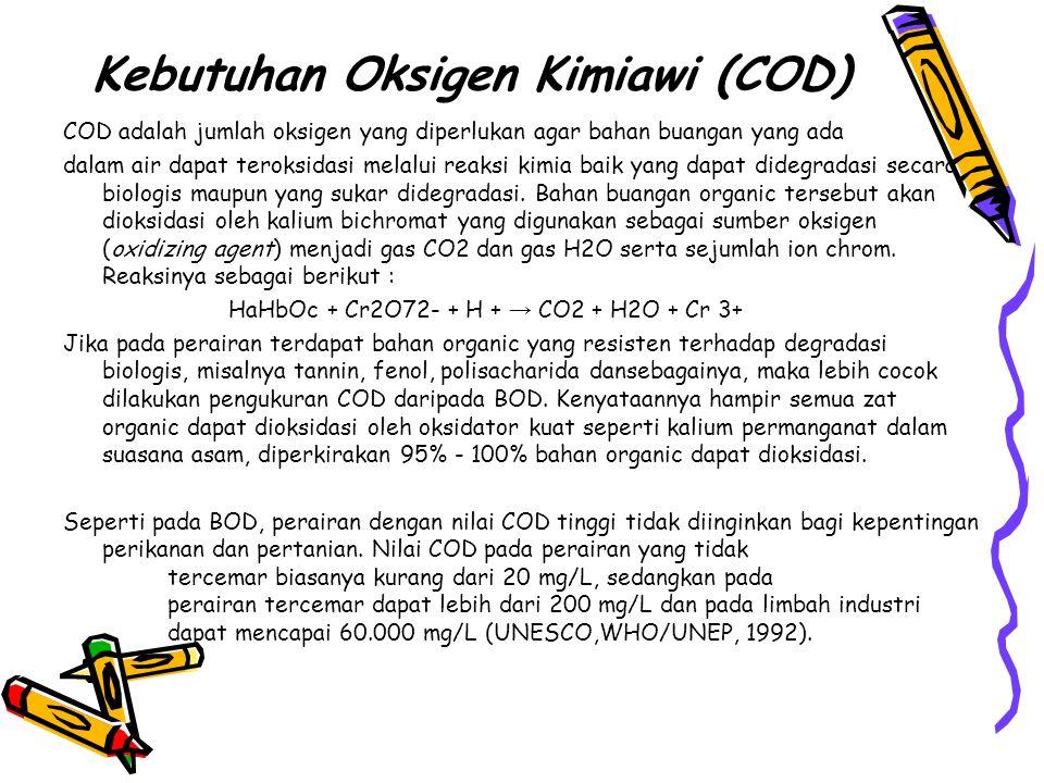 Kebutuhan Oksigen Kimiawi (COD) COD adalah jumlah oksigen yang diperlukan agar bahan buangan yang ada dalam air dapat teroksidasi melalui reaksi kimia baik yang dapat didegradasi secara biologis maupun yang sukar didegradasi.