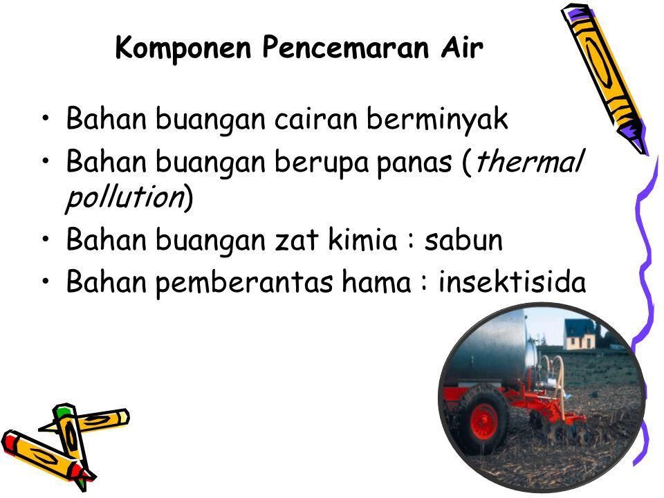 Komponen Pencemaran Air Bahan buangan cairan berminyak Bahan buangan berupa panas (thermal pollution) Bahan buangan zat kimia : sabun Bahan pemberantas hama : insektisida