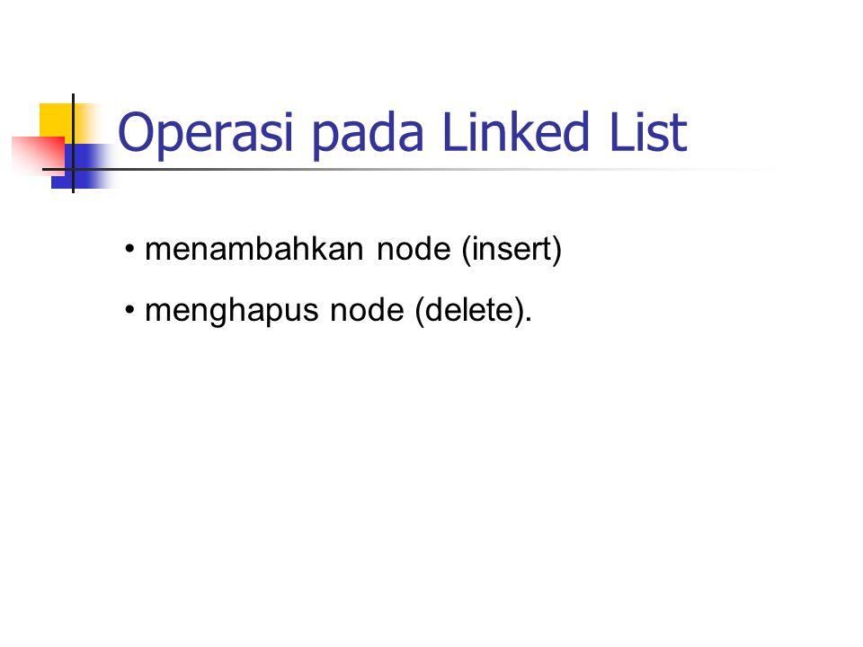 Operasi pada Linked List menambahkan node (insert) menghapus node (delete).