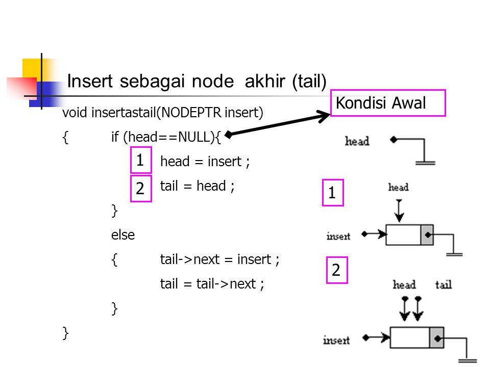 Insert sebagai node akhir (tail) void insertastail(NODEPTR insert) {if (head==NULL){ head = insert ; tail = head ; } else {tail->next = insert ; tail