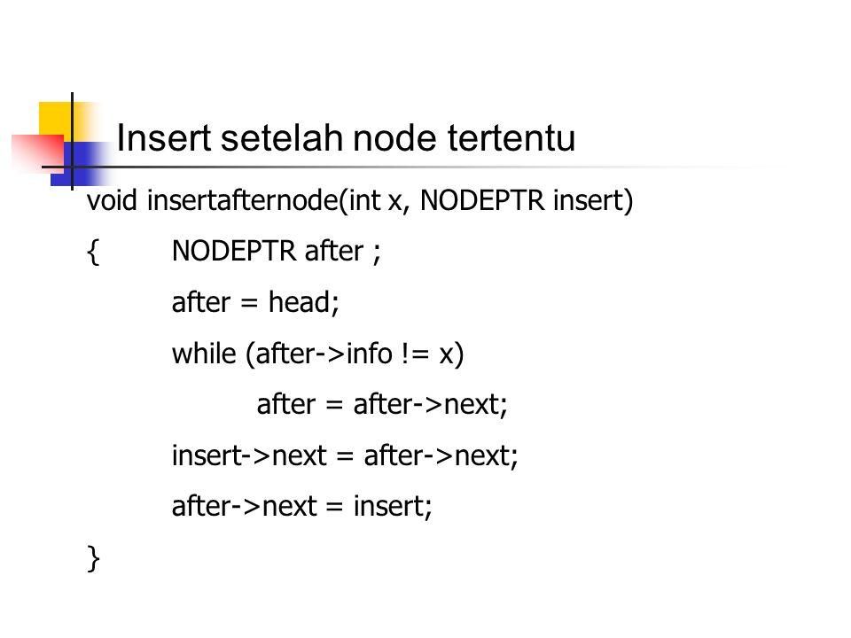 Insert setelah node tertentu void insertafternode(int x, NODEPTR insert) {NODEPTR after ; after = head; while (after->info != x) after = after->next;
