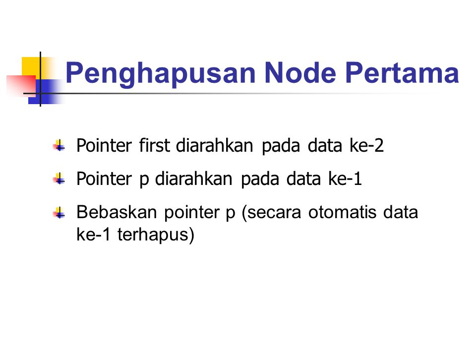 Penghapusan Node Pertama Pointer first diarahkan pada data ke-2 Pointer p diarahkan pada data ke-1 Bebaskan pointer p (secara otomatis data ke-1 terha