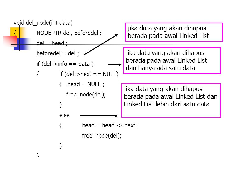 void del_node(int data) {NODEPTR del, beforedel ; del = head ; beforedel = del ; if (del->info == data ) {if (del->next == NULL) { head = NULL ; free_