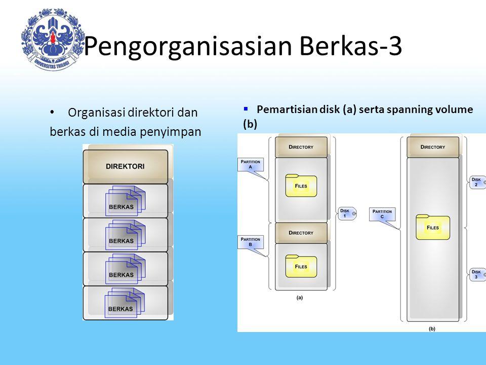 Pengorganisasian Berkas-3 Organisasi direktori dan berkas di media penyimpan  Pemartisian disk (a) serta spanning volume (b)
