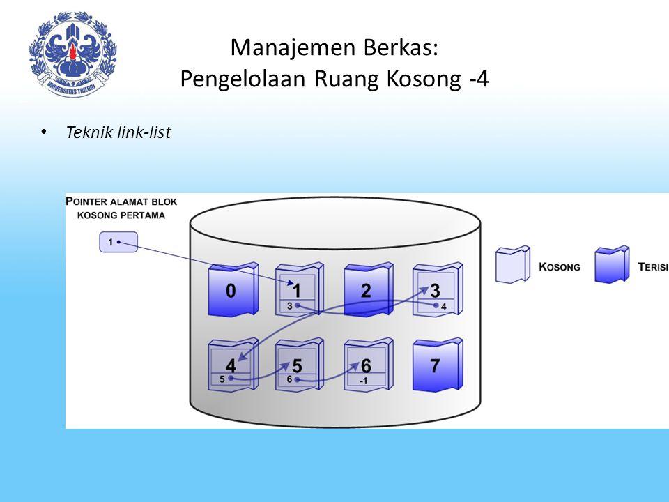 Manajemen Berkas: Pengelolaan Ruang Kosong -4 Teknik link-list