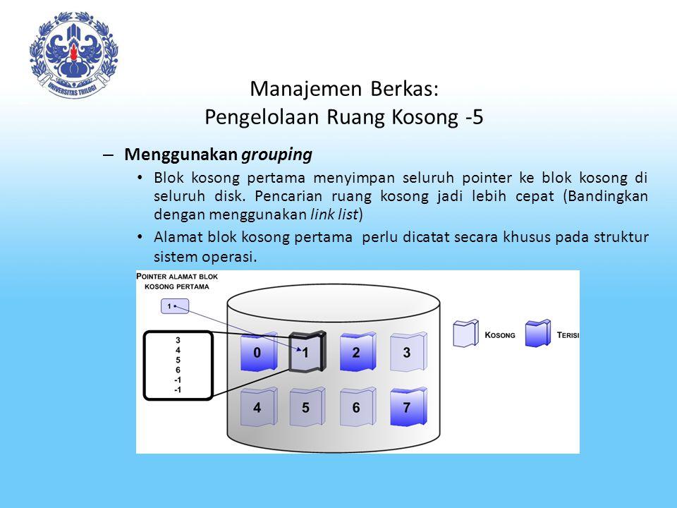 Manajemen Berkas: Pengelolaan Ruang Kosong -5 – Menggunakan grouping Blok kosong pertama menyimpan seluruh pointer ke blok kosong di seluruh disk. Pen