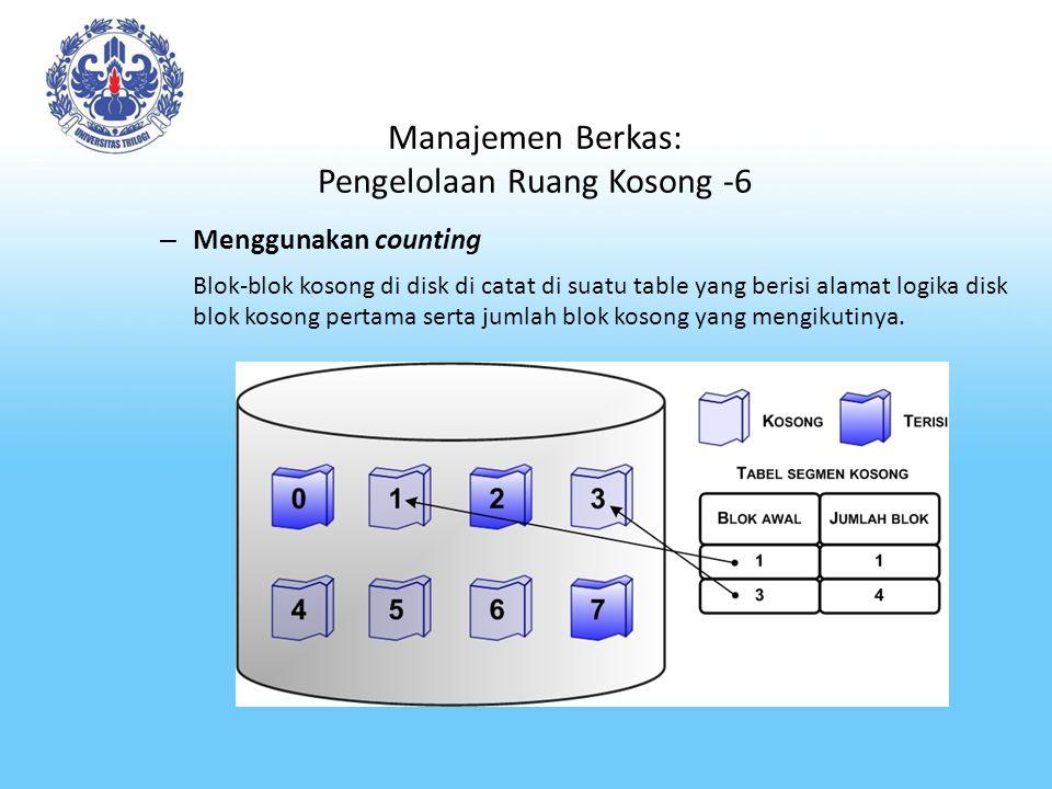 Manajemen Berkas: Pengelolaan Ruang Kosong -6 – Menggunakan counting Blok-blok kosong di disk di catat di suatu table yang berisi alamat logika disk b