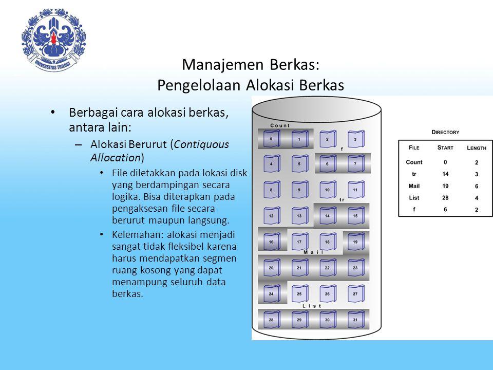 Manajemen Berkas: Pengelolaan Alokasi Berkas Berbagai cara alokasi berkas, antara lain: – Alokasi Berurut (Contiquous Allocation) File diletakkan pada