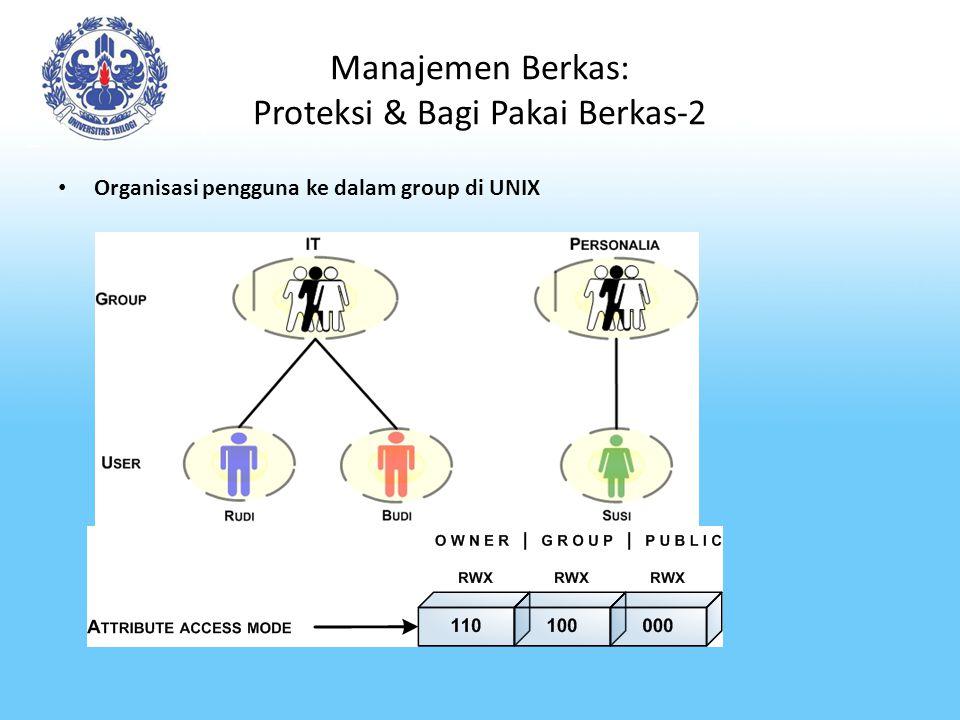 Manajemen Berkas: Proteksi & Bagi Pakai Berkas-2 Organisasi pengguna ke dalam group di UNIX