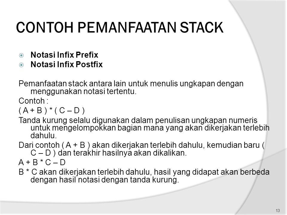 CONTOH PEMANFAATAN STACK  Notasi Infix Prefix  Notasi Infix Postfix Pemanfaatan stack antara lain untuk menulis ungkapan dengan menggunakan notasi t