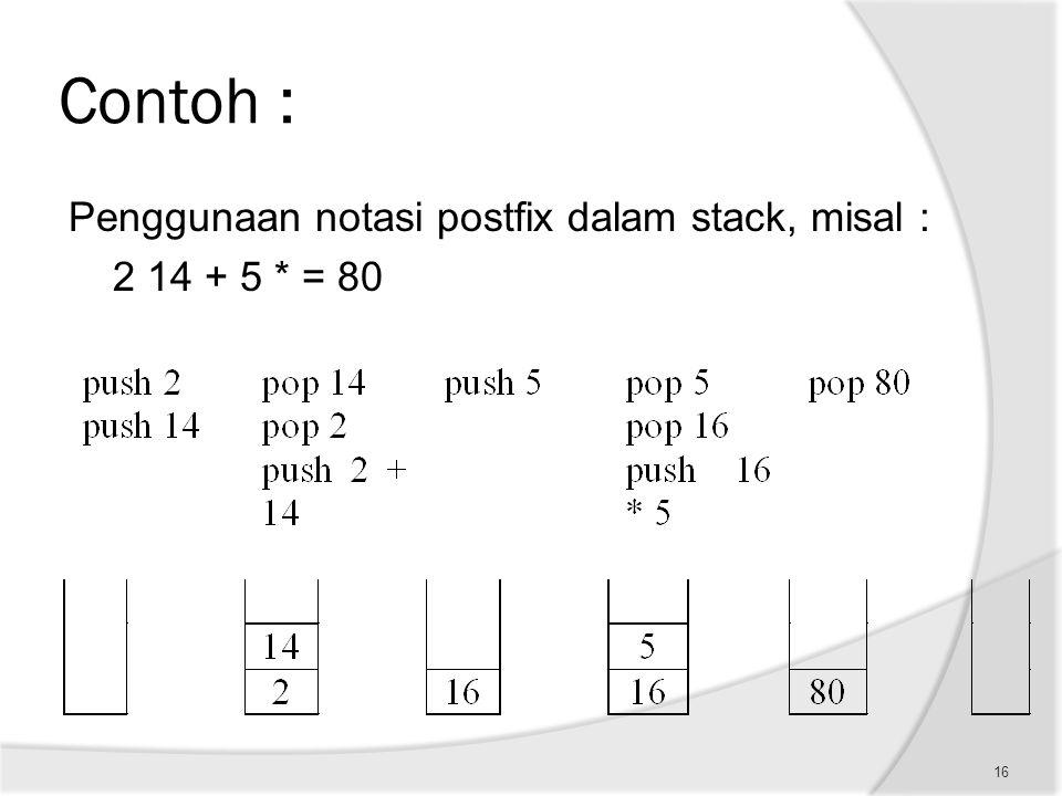 Contoh : Penggunaan notasi postfix dalam stack, misal : 2 14 + 5 * = 80 16