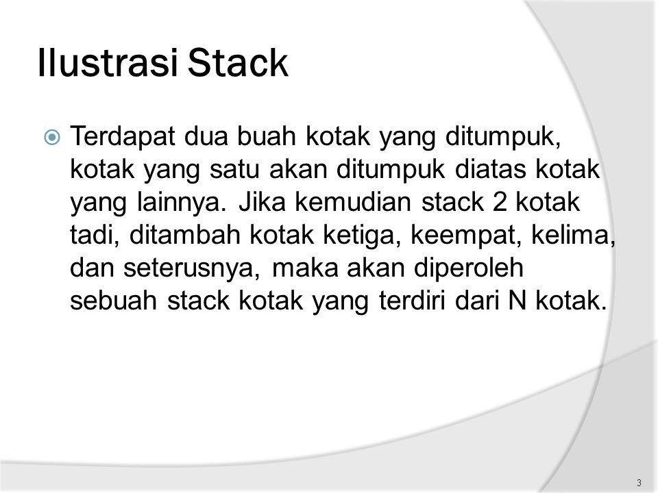 Ilustrasi Stack  Terdapat dua buah kotak yang ditumpuk, kotak yang satu akan ditumpuk diatas kotak yang lainnya. Jika kemudian stack 2 kotak tadi, di