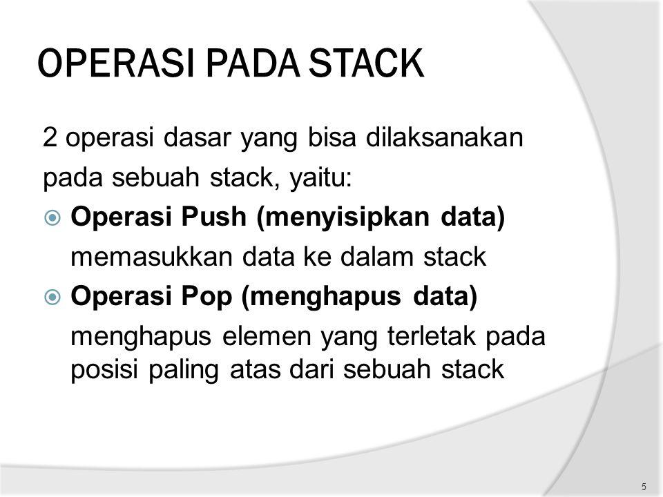 OPERASI PADA STACK 2 operasi dasar yang bisa dilaksanakan pada sebuah stack, yaitu:  Operasi Push (menyisipkan data) memasukkan data ke dalam stack