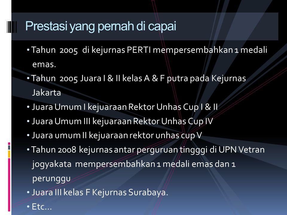 Tahun 2005 di kejurnas PERTI mempersembahkan 1 medali emas. Tahun 2005 Juara I & II kelas A & F putra pada Kejurnas Jakarta Juara Umum I kejuaraan Rek
