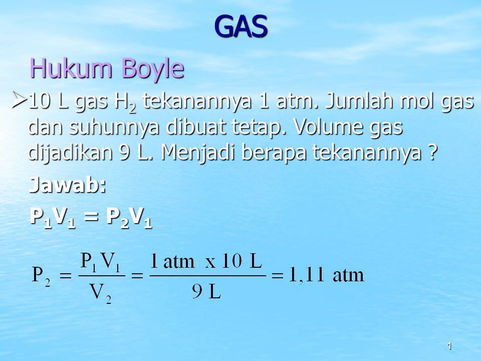 1 GAS Hukum Boyle  10 L gas H 2 tekanannya 1 atm. Jumlah mol gas dan suhunnya dibuat tetap. Volume gas dijadikan 9 L. Menjadi berapa tekanannya ? Jaw