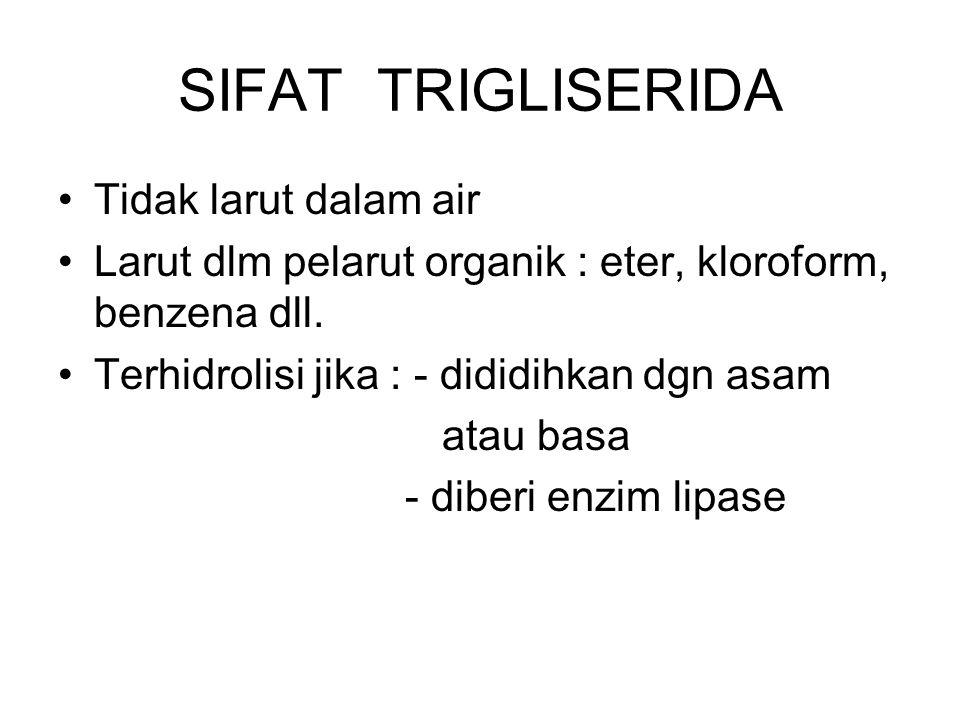 SIFAT TRIGLISERIDA Tidak larut dalam air Larut dlm pelarut organik : eter, kloroform, benzena dll. Terhidrolisi jika : - dididihkan dgn asam atau basa