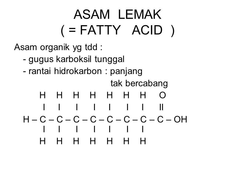 ASAM LEMAK ( = FATTY ACID ) Asam organik yg tdd : - gugus karboksil tunggal - rantai hidrokarbon : panjang tak bercabang H H H H H H H O I I I I I I I