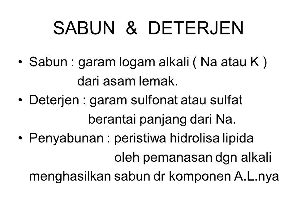 SABUN & DETERJEN Sabun : garam logam alkali ( Na atau K ) dari asam lemak. Deterjen : garam sulfonat atau sulfat berantai panjang dari Na. Penyabunan