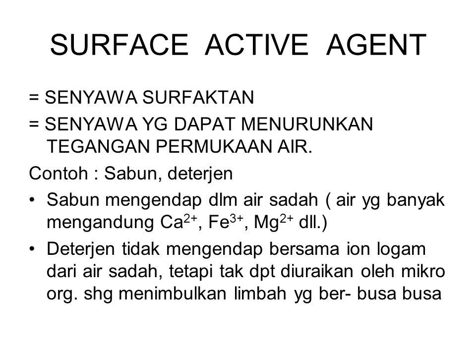 SURFACE ACTIVE AGENT = SENYAWA SURFAKTAN = SENYAWA YG DAPAT MENURUNKAN TEGANGAN PERMUKAAN AIR. Contoh : Sabun, deterjen Sabun mengendap dlm air sadah