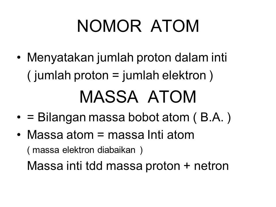 NOMOR ATOM Menyatakan jumlah proton dalam inti ( jumlah proton = jumlah elektron ) MASSA ATOM = Bilangan massa bobot atom ( B.A. ) Massa atom = massa