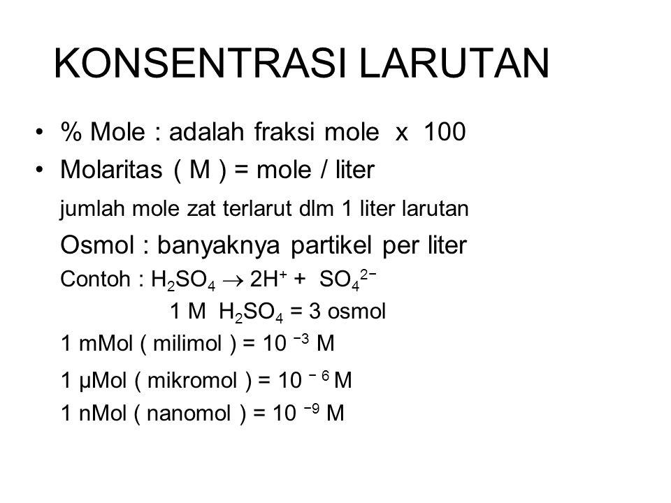 KONSENTRASI LARUTAN % Mole : adalah fraksi mole x 100 Molaritas ( M ) = mole / liter jumlah mole zat terlarut dlm 1 liter larutan Osmol : banyaknya pa