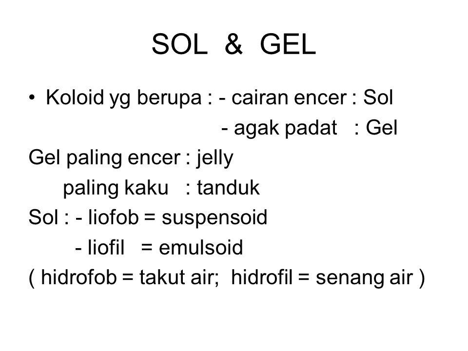 SOL & GEL Koloid yg berupa : - cairan encer : Sol - agak padat : Gel Gel paling encer : jelly paling kaku : tanduk Sol : - liofob = suspensoid - liofi