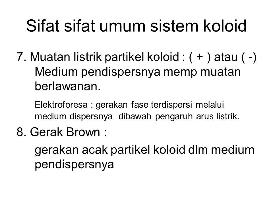 Sifat sifat umum sistem koloid 7. Muatan listrik partikel koloid : ( + ) atau ( -) Medium pendispersnya memp muatan berlawanan. Elektroforesa : geraka
