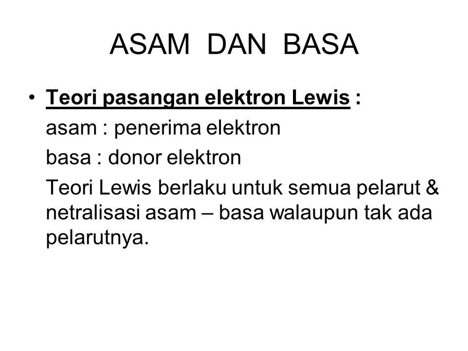 ASAM DAN BASA Teori pasangan elektron Lewis : asam : penerima elektron basa : donor elektron Teori Lewis berlaku untuk semua pelarut & netralisasi asa