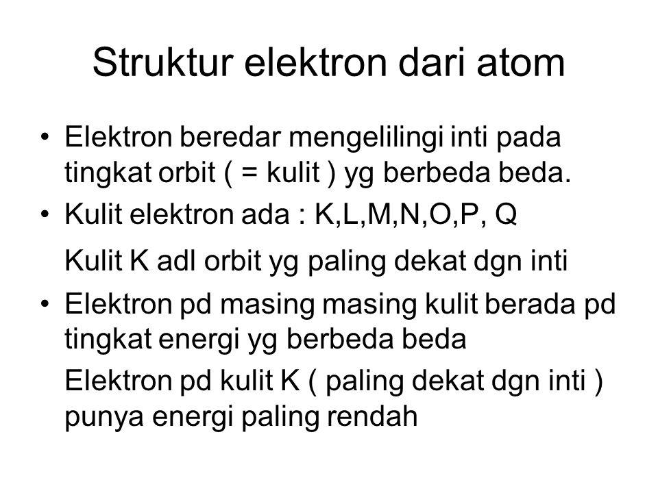 Struktur elektron dari atom Elektron beredar mengelilingi inti pada tingkat orbit ( = kulit ) yg berbeda beda. Kulit elektron ada : K,L,M,N,O,P, Q Kul