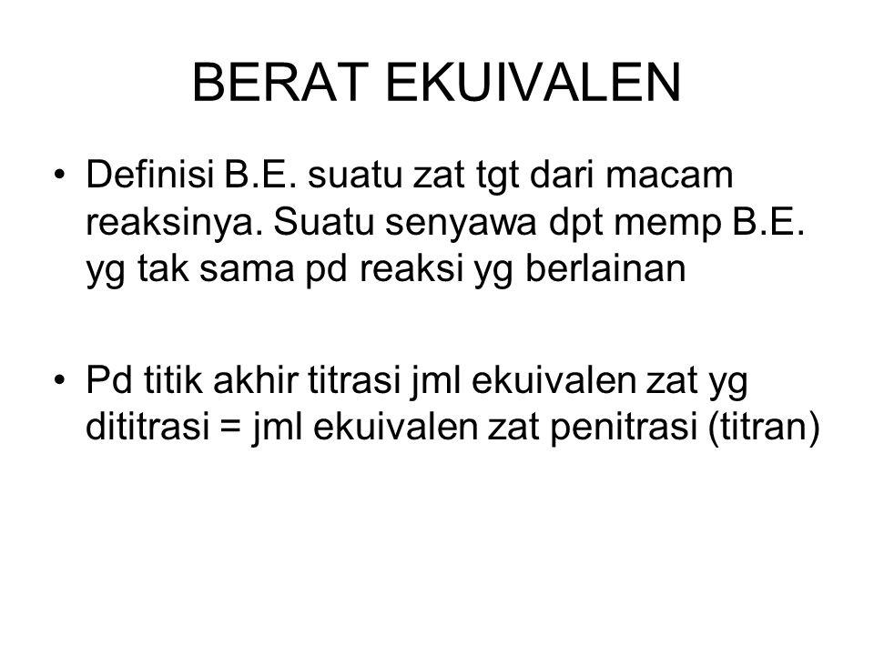 BERAT EKUIVALEN Definisi B.E. suatu zat tgt dari macam reaksinya. Suatu senyawa dpt memp B.E. yg tak sama pd reaksi yg berlainan Pd titik akhir titras