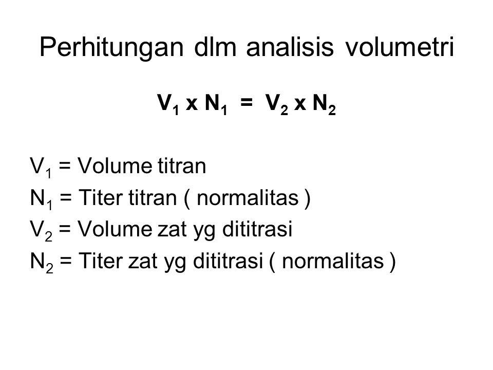 Perhitungan dlm analisis volumetri V 1 x N 1 = V 2 x N 2 V 1 = Volume titran N 1 = Titer titran ( normalitas ) V 2 = Volume zat yg dititrasi N 2 = Tit
