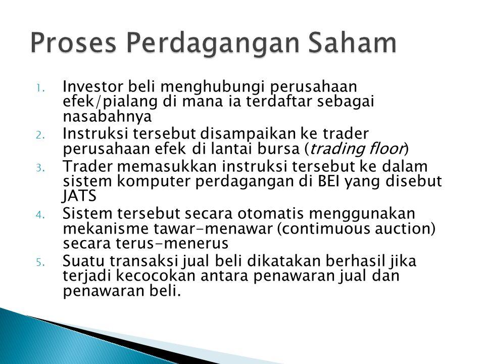 1.Investor beli menghubungi perusahaan efek/pialang di mana ia terdaftar sebagai nasabahnya 2.