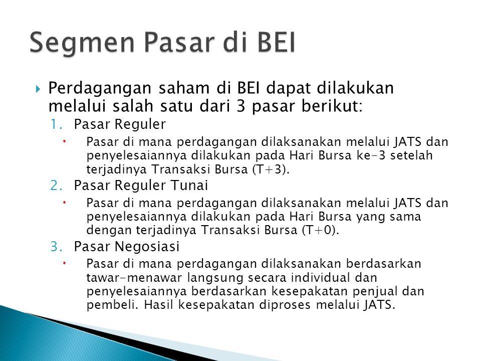  Perdagangan saham di BEI dapat dilakukan melalui salah satu dari 3 pasar berikut: 1.Pasar Reguler  Pasar di mana perdagangan dilaksanakan melalui JATS dan penyelesaiannya dilakukan pada Hari Bursa ke-3 setelah terjadinya Transaksi Bursa (T+3).