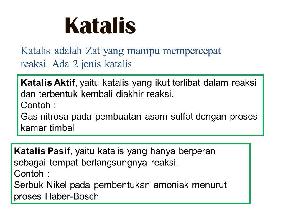 Katalis Katalis adalah Zat yang mampu mempercepat reaksi.