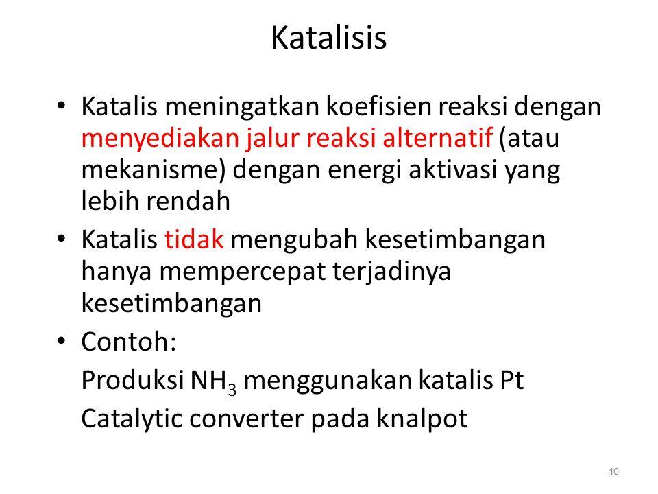 Katalisis Katalis meningatkan koefisien reaksi dengan menyediakan jalur reaksi alternatif (atau mekanisme) dengan energi aktivasi yang lebih rendah Katalis tidak mengubah kesetimbangan hanya mempercepat terjadinya kesetimbangan Contoh: Produksi NH 3 menggunakan katalis Pt Catalytic converter pada knalpot 40