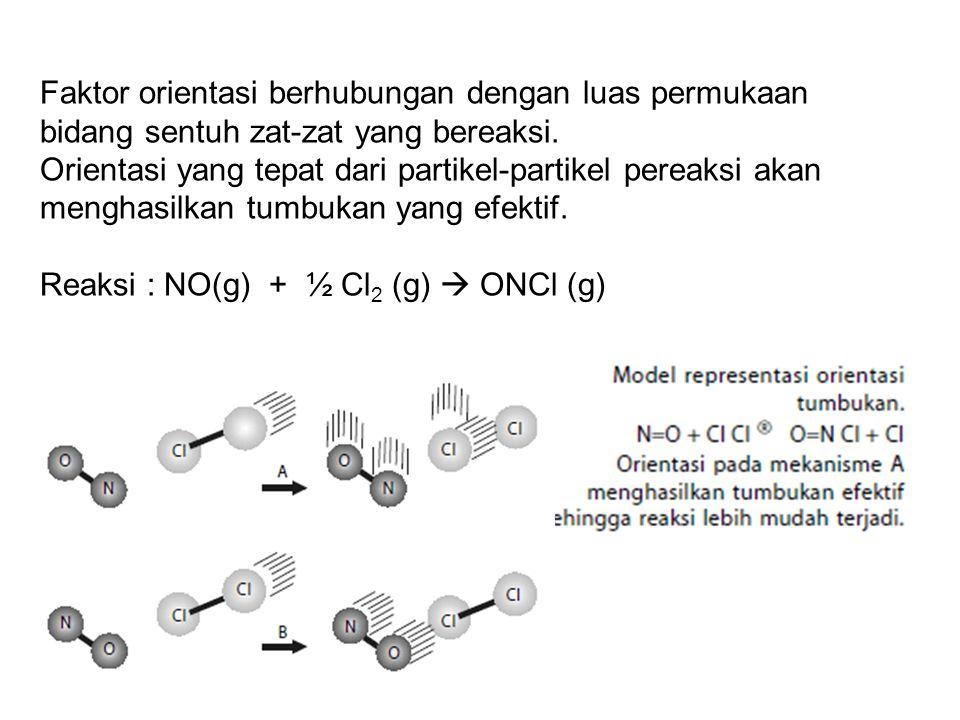Faktor orientasi berhubungan dengan luas permukaan bidang sentuh zat-zat yang bereaksi.