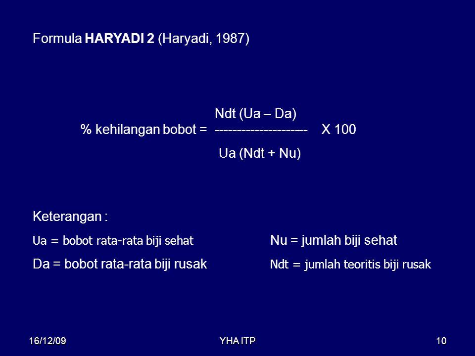 YHA ITP10 Formula HARYADI 2 (Haryadi, 1987) % kehilangan bobot = ---------------------X 100 Ndt (Ua – Da) Ua (Ndt + Nu) Keterangan : Ua = bobot rata-r