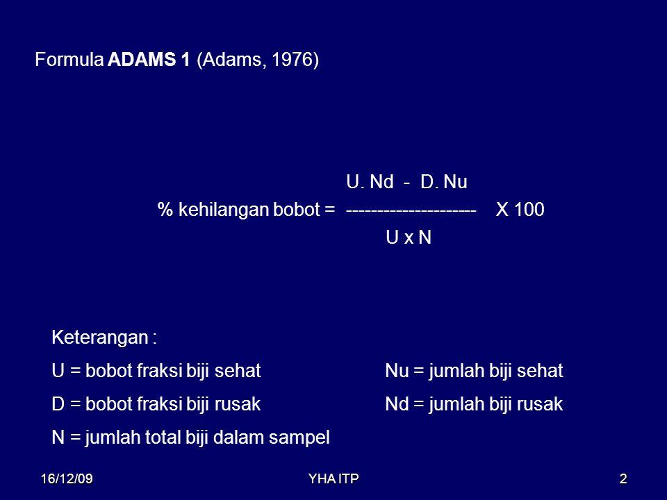YHA ITP2 Formula ADAMS 1 (Adams, 1976) % kehilangan bobot = --------------------- U. Nd - D. Nu U x N X 100 Keterangan : U = bobot fraksi biji sehatNu