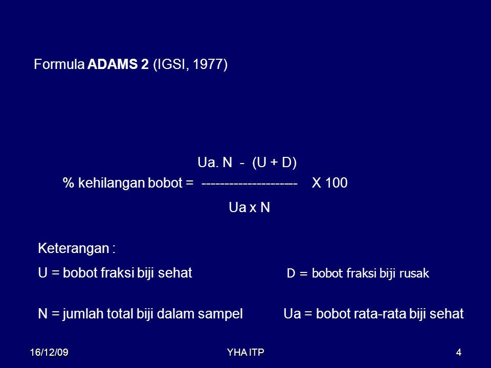 YHA ITP4 % kehilangan bobot = --------------------- Formula ADAMS 2 (IGSI, 1977) Ua x N Ua. N - (U + D) X 100 Keterangan : U = bobot fraksi biji sehat
