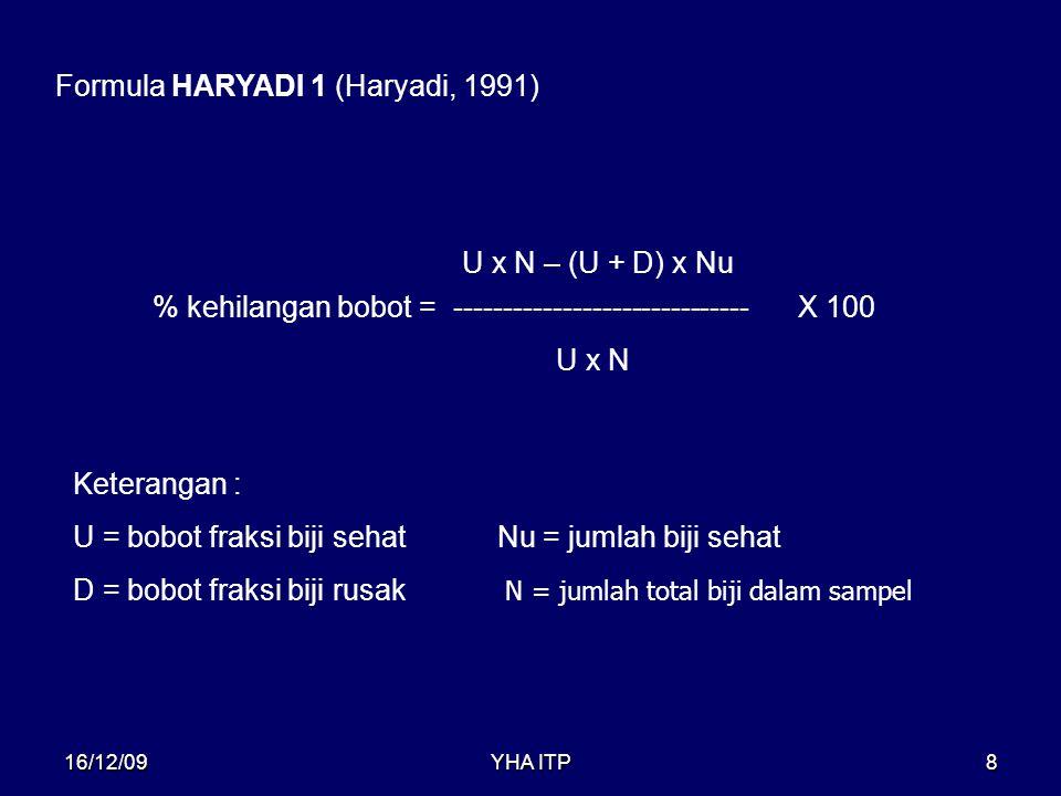 YHA ITP8 Formula HARYADI 1 (Haryadi, 1991) % kehilangan bobot = ------------------------------ U x N – (U + D) x Nu X 100 U x N Keterangan : U = bobot