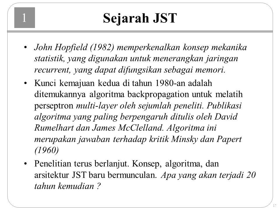 1 17 Sejarah JST John Hopfield (1982) memperkenalkan konsep mekanika statistik, yang digunakan untuk menerangkan jaringan recurrent, yang dapat difungsikan sebagai memori.