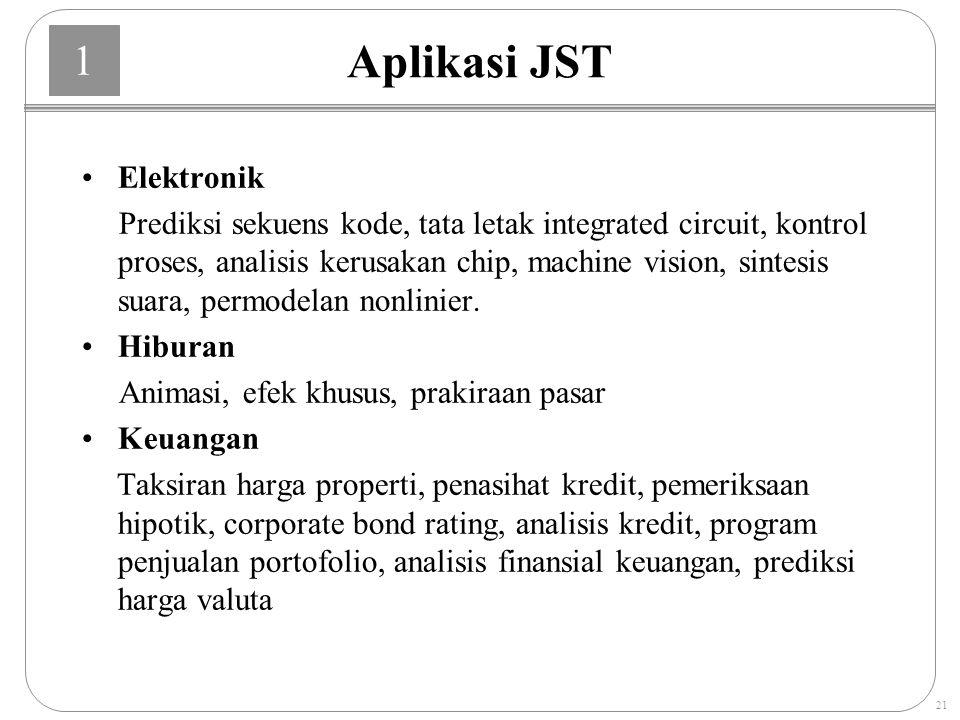 1 21 Aplikasi JST Elektronik Prediksi sekuens kode, tata letak integrated circuit, kontrol proses, analisis kerusakan chip, machine vision, sintesis suara, permodelan nonlinier.