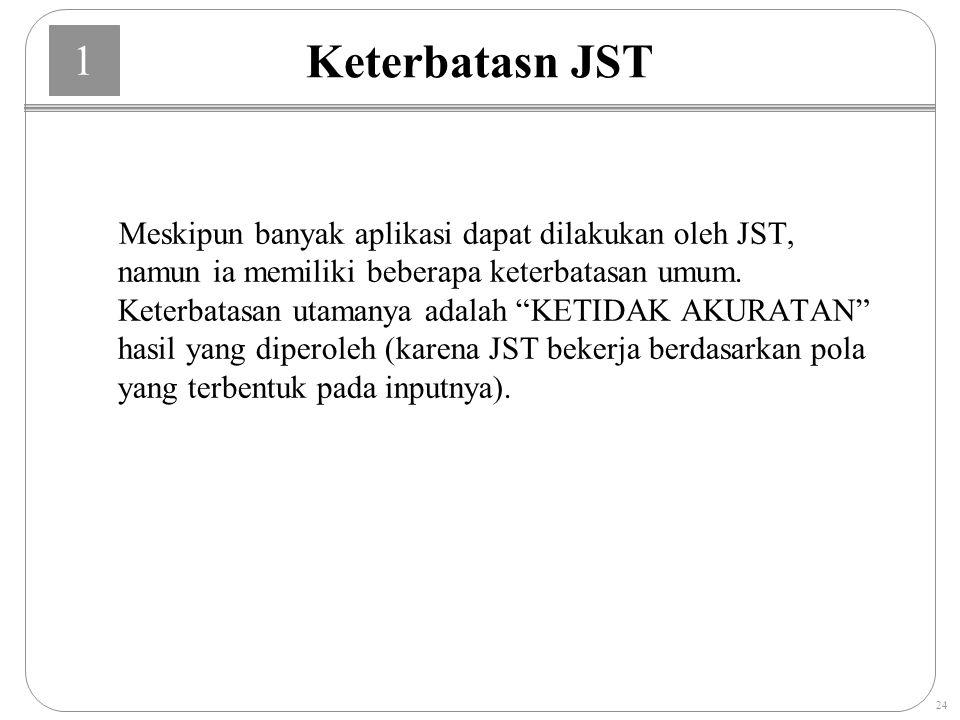 1 24 Keterbatasn JST Meskipun banyak aplikasi dapat dilakukan oleh JST, namun ia memiliki beberapa keterbatasan umum.
