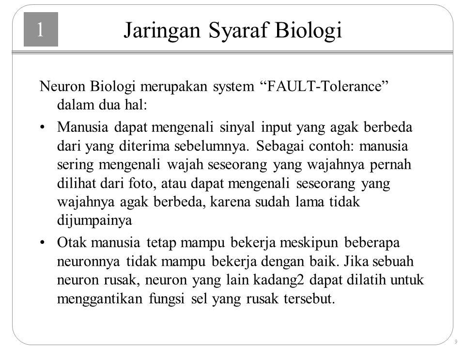 1 9 Neuron Biologi merupakan system FAULT-Tolerance dalam dua hal: Manusia dapat mengenali sinyal input yang agak berbeda dari yang diterima sebelumnya.