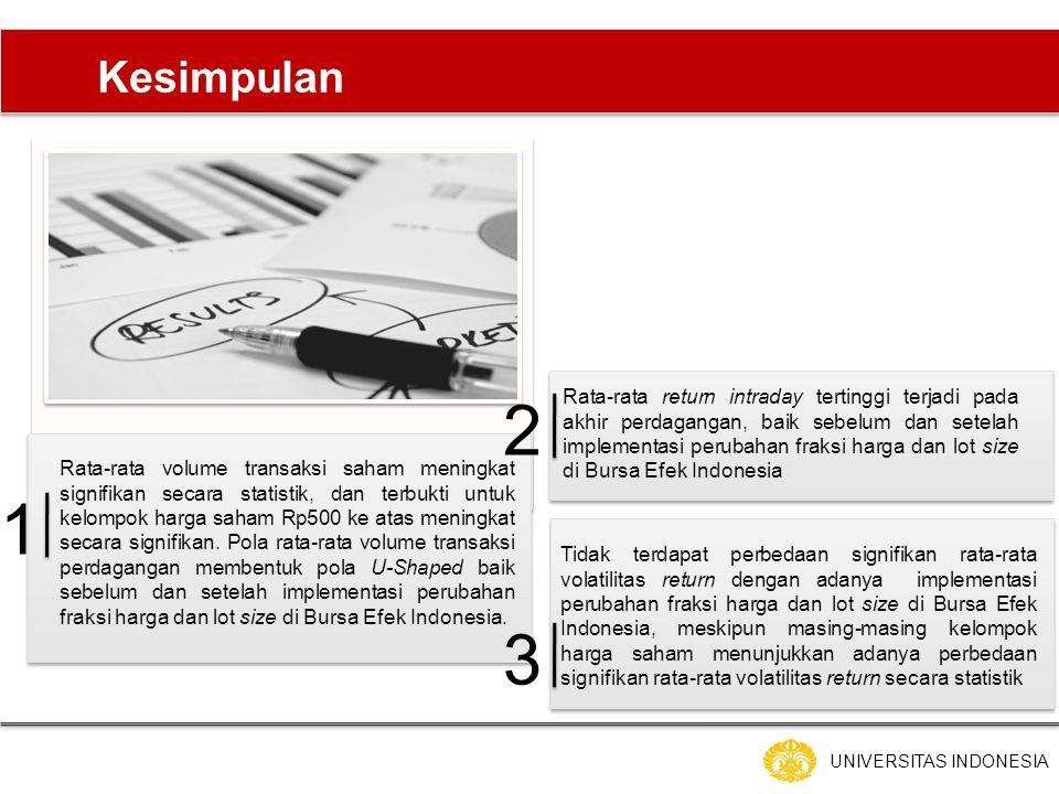 UNIVERSITAS INDONESIA Kesimpulan Rata-rata volume transaksi saham meningkat signifikan secara statistik, dan terbukti untuk kelompok harga saham Rp500 ke atas meningkat secara signifikan.