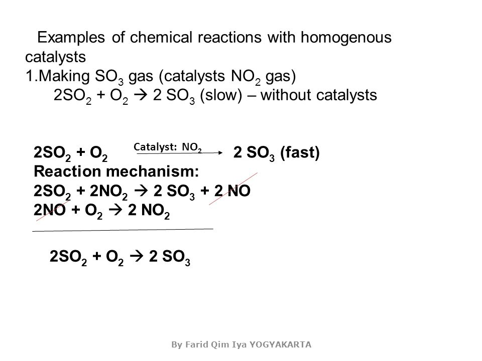 By Farid Qim Iya YOGYAKARTA Catalyst: NO 2 Examples of chemical reactions with homogenous catalysts 1.Making SO 3 gas (catalysts NO 2 gas) 2SO 2 + O 2  2 SO 3 (slow) – without catalysts 2SO 2 + O 2 2 SO 3 (fast) Reaction mechanism: 2SO 2 + 2NO 2  2 SO 3 + 2 NO 2NO + O 2  2 NO 2 2SO 2 + O 2  2 SO 3