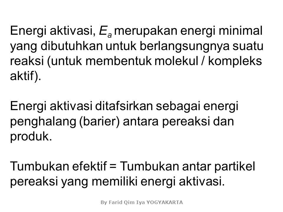 Energi aktivasi = energi minimum yang harus dimiliki pereaksi agar tumbukannya dapat menghasilkan reaksi (Tumbukan antar partikel pereaksi yang dapat membentuk komplek teraktivasi).