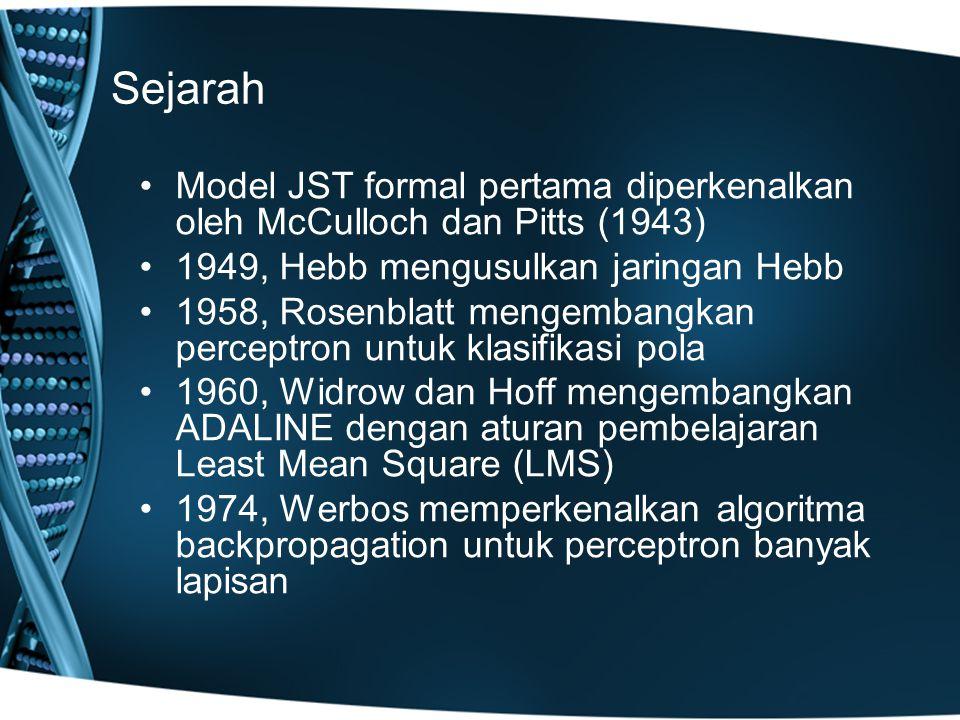 Sejarah Model JST formal pertama diperkenalkan oleh McCulloch dan Pitts (1943) 1949, Hebb mengusulkan jaringan Hebb 1958, Rosenblatt mengembangkan perceptron untuk klasifikasi pola 1960, Widrow dan Hoff mengembangkan ADALINE dengan aturan pembelajaran Least Mean Square (LMS) 1974, Werbos memperkenalkan algoritma backpropagation untuk perceptron banyak lapisan